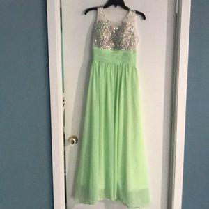Formal dress worn for a pageant. Sea foam.